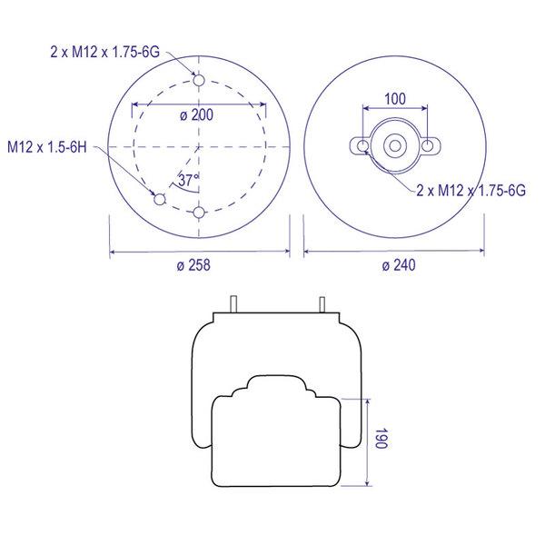 Coussin d'air 1T17BPZ11 pour ROR, piston composite