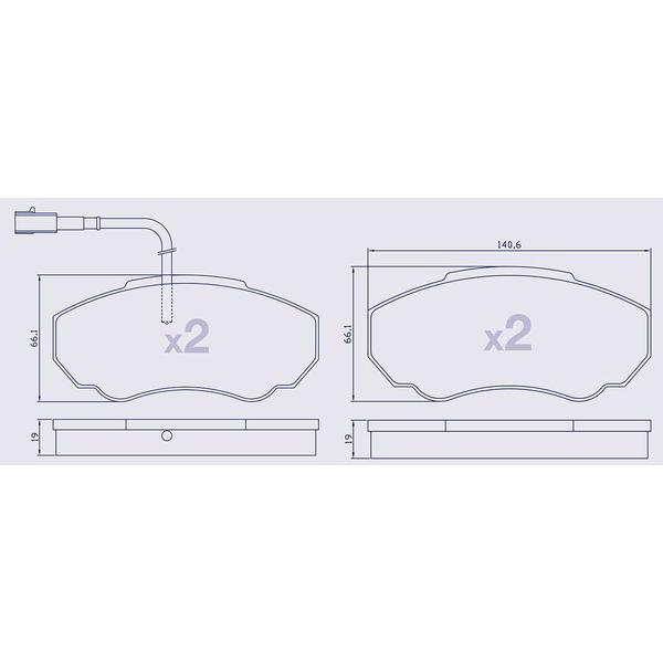 4 Plaquettes de frein avant pour CITROEN / FIAT / PEUGEOT - 77362219