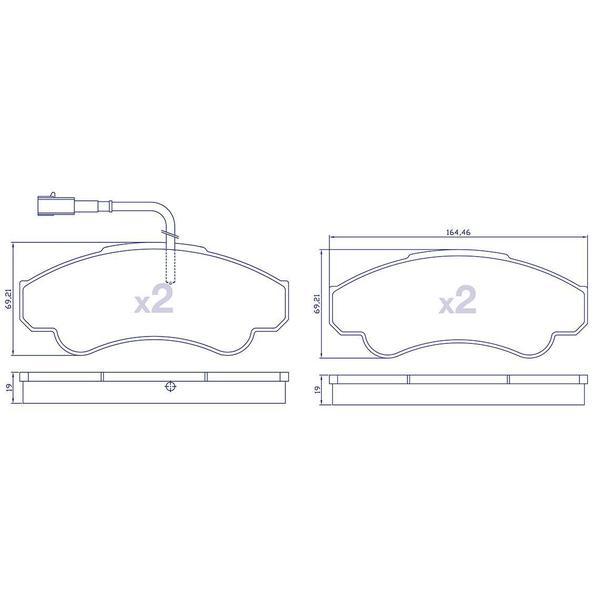 4 Plaquettes de frein avant pour CITROEN / FIAT / PEUGEOT - Ref : 23919009203