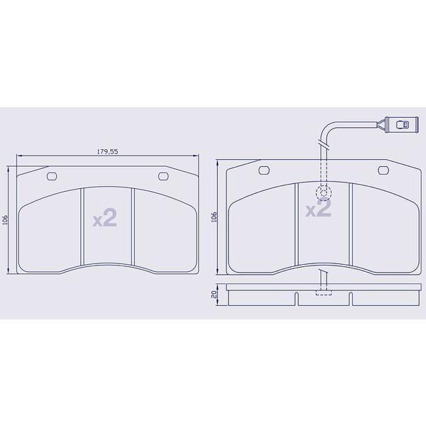 4 Plaquettes de frein avant pour IVECO 370-380 Series / Cityclass