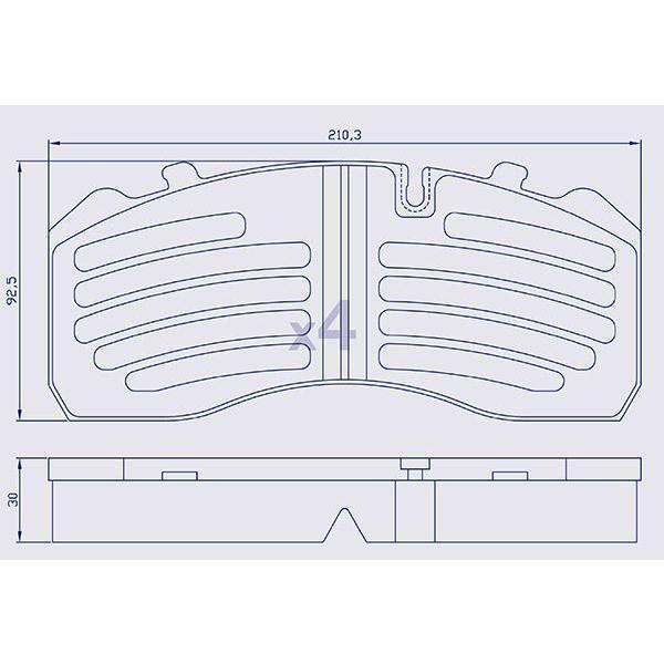 4 Plaquettes de frein pour DAF  /IVECO / MAN / MERCEDES - WVA 29095 - Ref : OEM910001-01