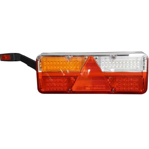 Feu arrière à LED KINGPOINT 12-36V, 6-fonctions, gauche, sans éclaireur de plaque latéral, avec feu corne, avec connecteur AMP + 4 connecteurs superseal 2 broches.