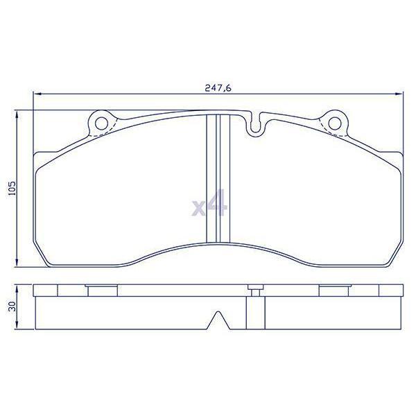 4 Plaquettes de frein arrière pour REMORQUE/BPW/SAE/SMB - M910027-03