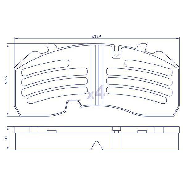 4 Plaquettes de frein arrière pour essieu BPW, KNORR - WVA29165