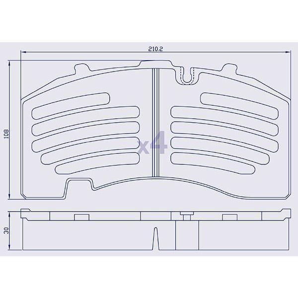4 Plaquettes de frein arrière pour essieu BPW, KNORR