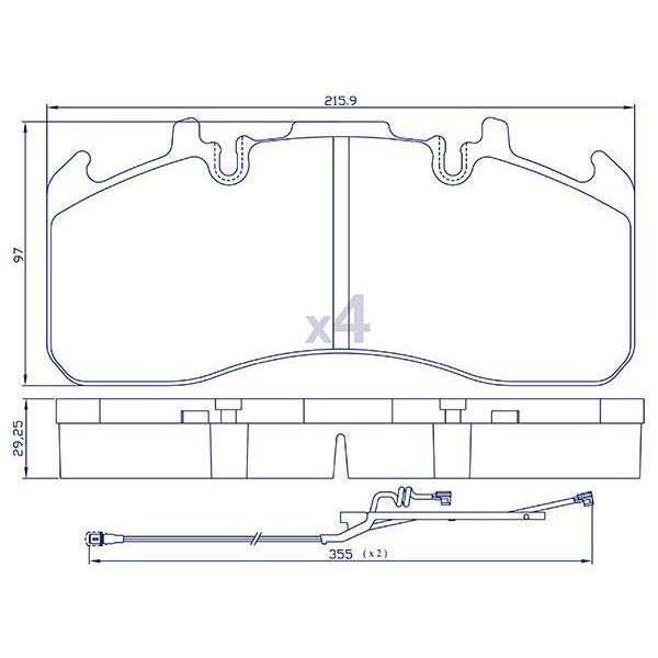 4 Plaquettes de frein pour RENAULT / VOLVO - MDP5102