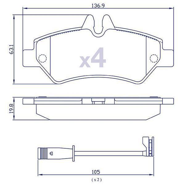 4 Plaquettes de frein arrière pour MERCEDES/VOLKSWAGEN