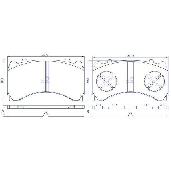 4 Plaquettes de frein arrières pour MERCEDES ACTROS (MP4)