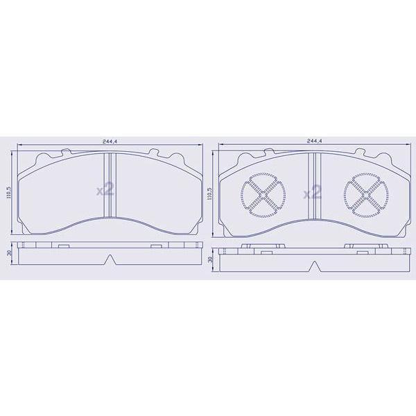 4 Plaquettes de frein avant pour ACTROS pour étrier KNORR SM7