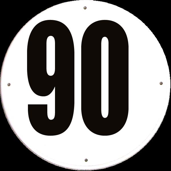 Disque limitation de vitesse 90 km/h PVC rigide