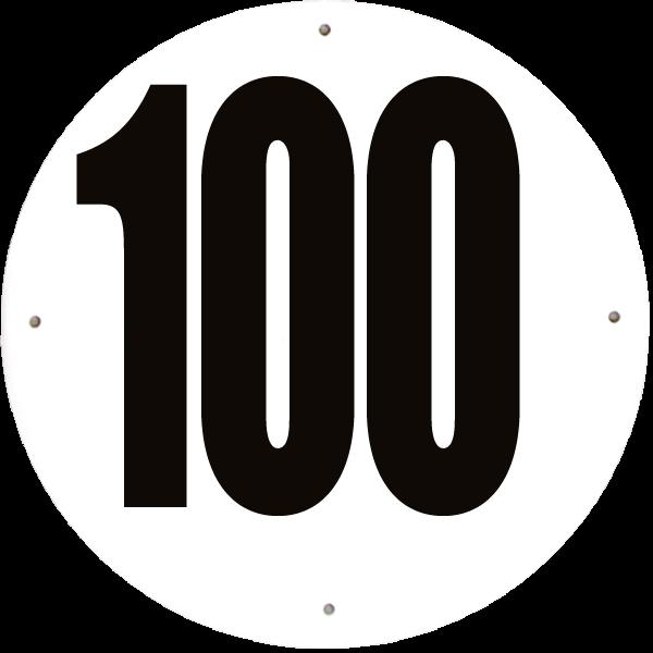 Disque limitation de vitesse 100 km/h aluminium - diamètre 200mm, HOMOLOGUÉ