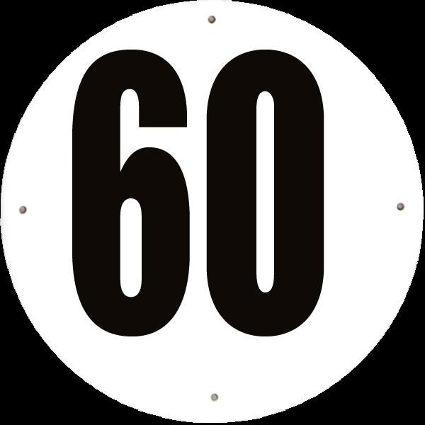 Disque limitation de vitesse 60 km/h aluminium - diamètre 200mm, HOMOLOGUÉ