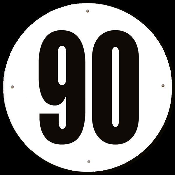 Disque limitation de vitesse 90 km/h aluminium - diamètre 200mm, HOMOLOGUÉ