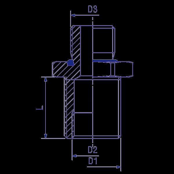 Traversée de cloison 16x1,5 D22, raccord pour circuit air comprimé PL
