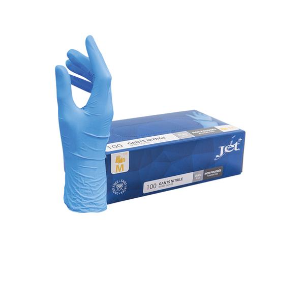 100 gants nitrile bleu - Taille M, jetables, non poudrés, bords ourlés