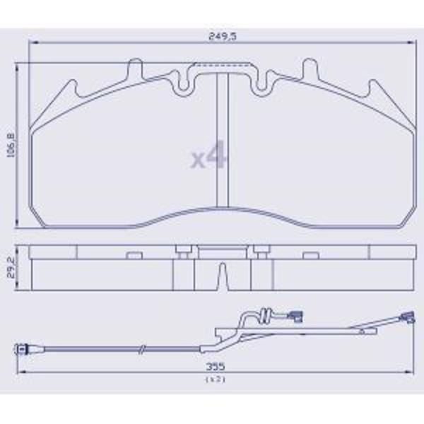 4 Plaquettes de frein pour RENAULT NEW MAGNUM-PREMIUM/VOLVO FE/FM/FH16 - 5001018784 - Ref : MDP5101