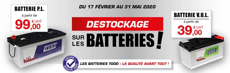 Déstockage sur les batteries du 17 février au 17 avril 2020