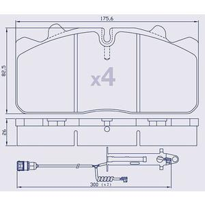 4 Plaquettes de frein pour DAF/IVECO/MAN/RENAULT avec TU  - WVA 29288