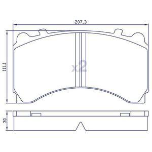 4 Plaquettes de frein arrière pour ACTROS pour étrier KNORR SL7