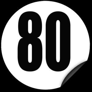 Disque limitation de vitesse 80 km/h adhésif - diamètre 200mm, HOMOLOGUÉ
