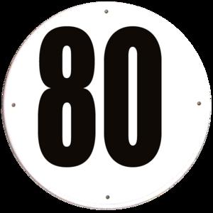Disque limitation de vitesse 80 km/h PVC - diamètre 200mm, HOMOLOGUÉ