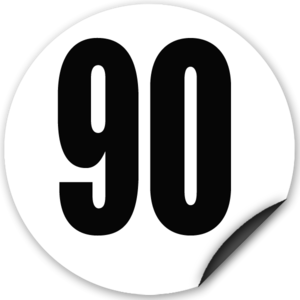 Disque limitation de vitesse 90 km/h adhésif - diamètre 200mm, HOMOLOGUÉ