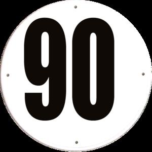 Disque limitation de vitesse 90 km/h PVC - diamètre 200mm, HOMOLOGUÉ