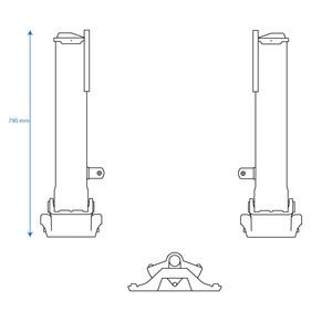 Jeu de béquilles complet, patin S, pour semi-remorque PL - Ref : 3210103