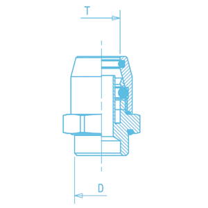 Union mâle démontable 22x1,5. D8, raccord pour circuit air comprimé PL